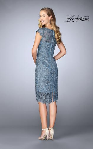 Picture of: Short Metallic Lace Dress with Sheer Top and Hem, Style: 24861, Back Picture