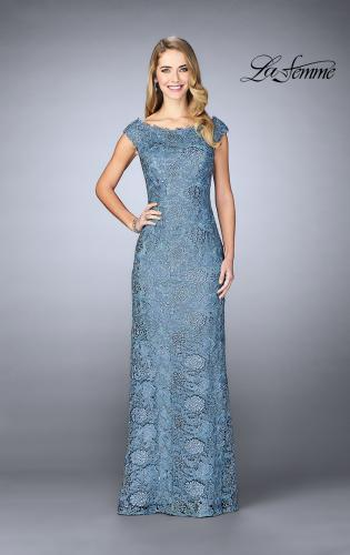 Picture of: Long Metallic Lace Prom Dress with Boat neck, Style: 24860, Detail Picture 1