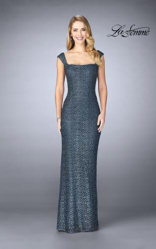 Picture of: Lace Evening Gown with Thick Straps and Beading, Style: 24891, Detail Picture 1