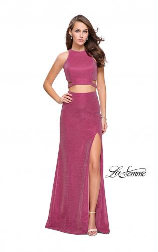 Picture of: Glittering Two Piece Jersey Prom Dress with Side Leg Slit, Style: 25572, Main Picture