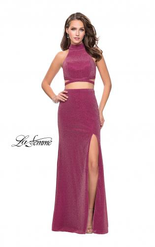 Picture of: Two Piece Jersey Prom Dress with Open Back and Leg Slit, Style: 25604, Detail Picture 2