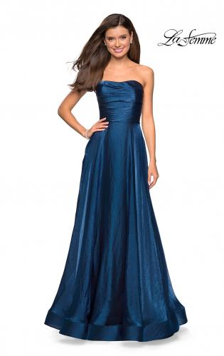 Picture of: Strapless Satin Gown with Ruching and Pockets, Style: 27130, Main Picture