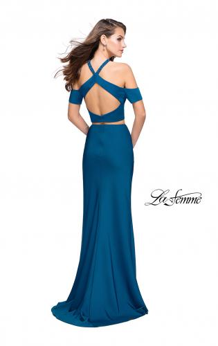 Picture of: Two Piece Long Prom Dress with Beaded Halter Top, Style: 25846, Back Picture