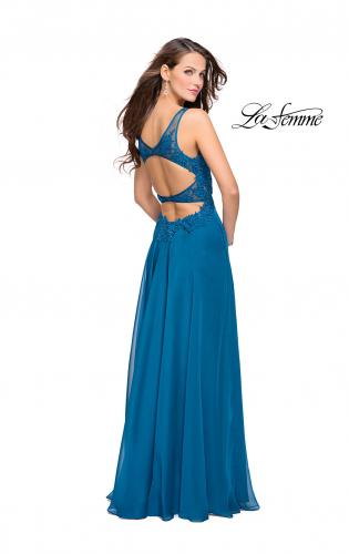 Picture of: Chiffon A-line Dress with Beaded Lace Bodice, Style: 26082, Back Picture