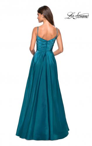 Picture of: Long Satin Simple Prom Dress with Empire Waist, Style: 27226, Back Picture