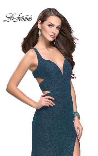 Picture of: Sparkly Jersey Prom Dress with Cut Outs and Side Leg Slit, Style: 25215, Detail Picture 1