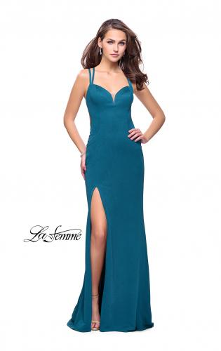 Picture of: Shimmering Prom Dress with Leg Slit and Open Back, Style: 26266, Detail Picture 1