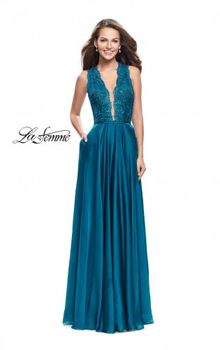 Picture of: Long A-line Dress with Chiffon Skirt and Strappy Details, Style: 25487, Detail Picture 2