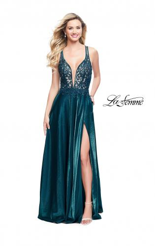 Picture of: Two Tone A-line Gown with Lace Bodice and Leg Slit, Style: 25907, Detail Picture 2