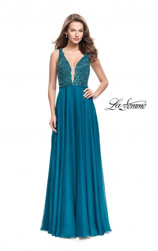 Picture of: A-Line Prom Gown with Chiffon Skirt and Beaded Bodice, Style: 26053, Detail Picture 2