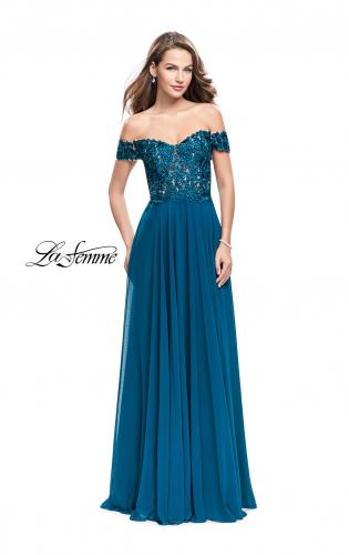 Picture of: Beaded Lace Off the Shoulder Prom Dress, Style: 26070, Detail Picture 2