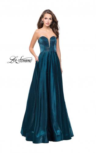 Picture of: Long Strapless Mikado Ball Gown with Beading, Style: 26104, Detail Picture 2