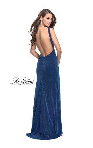 Picture of: Form Fitting Prom Gown with Leg Slit and Ruching, Style: 25884, Back Picture