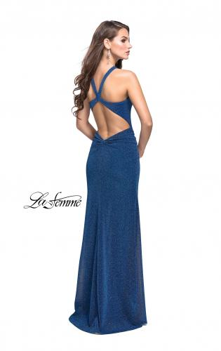Picture of: Sparkling Jersey Prom Dress with High Neck and Slit, Style: 25908, Back Picture