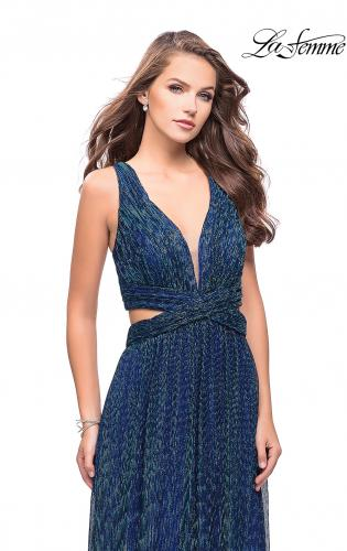 Picture of: Pleated Lame Prom Dress with Cut Outs and a Deep V, Style: 25643, Detail Picture 2