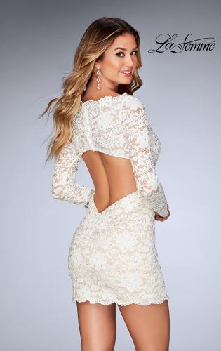 Picture of: Long Sleeve Lace Dress with Deep V Neckline, Style: 25038, Back Picture