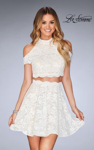 Picture of: Lace Two Piece Dress with Open Shoulders and Keyhole, Style: 25021, Detail Picture 2