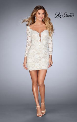 Picture of: Long Sleeve Lace Dress with Deep V Neckline, Style: 25038, Detail Picture 2