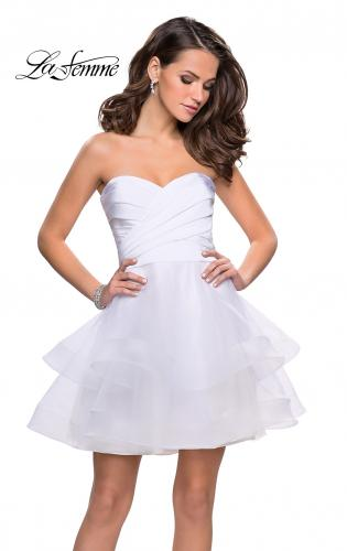 Picture of: Short Homecoming Dress with Tiered Tulle Skirt, Style: 26654, Detail Picture 2