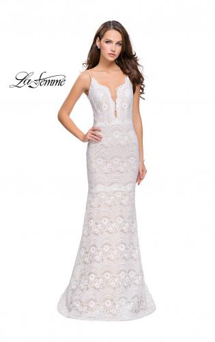 Picture of: Beaded Lace Prom Dress with Mermaid Skirt, Style: 26106, Main Picture