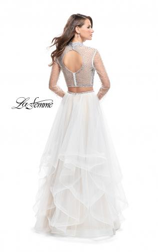 Picture of: Long Sleeve Two Piece Dress with Tulle Ruffle Skirt, Style: 25555, Back Picture