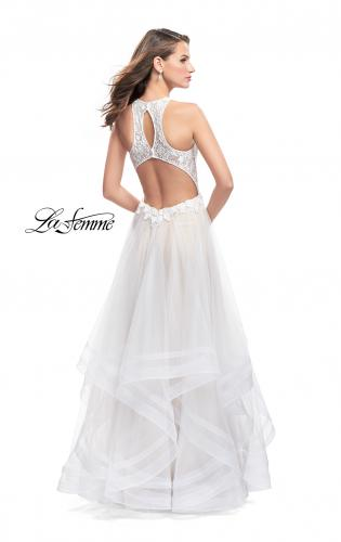 Picture of: Long Prom Ball Gown with Tulle Overlay and Beaded Top, Style: 25671, Back Picture