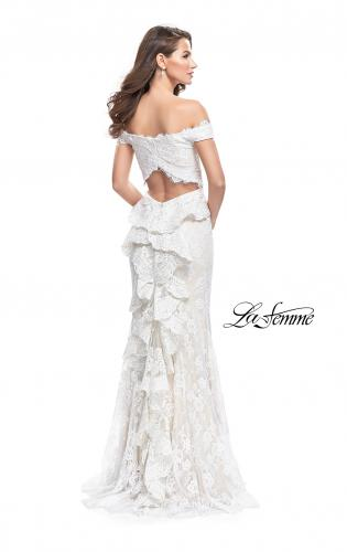 Picture of: Off the Shoulder Beaded Lace Gown with Ruffle Detail, Style: 26218, Back Picture