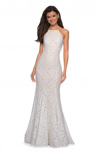Picture of: Long Lace Prom Dress with High Neckline, Style: 27289, Back Picture
