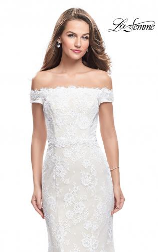 Picture of: Off the Shoulder Beaded Lace Gown with Ruffle Detail, Style: 26218, Detail Picture 1
