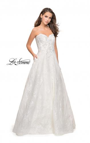 Picture of: Long Strapless Lace Ball Gown with Beading and Pockets, Style: 26338, Detail Picture 1
