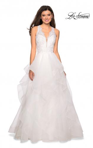 94625ea8f716 ... Picture of: Long Layered Tulle Dress with Lace Embellished Bodice,  Style: 27570, ...