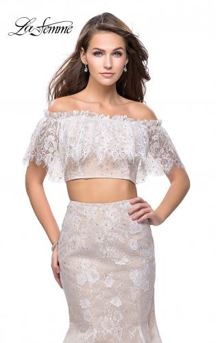 Picture of: Two Piece Mermaid Style Gown with Off the Shoulder Top, Style: 25417, Detail Picture 2