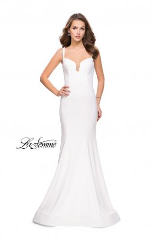 Picture of: Long Form Fitting Jersey Prom Dress with Open Back, Style: 25651, Detail Picture 2