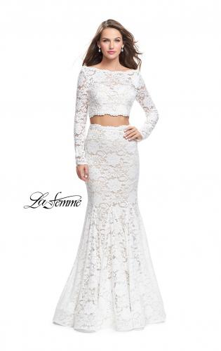 Picture of: Mermaid Style Lace Two Piece Dress with Scalloped Trim, Style: 25668, Detail Picture 2