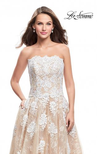 Picture of: Strapless A-line Prom Dress with Tulle, Style: 25925, Detail Picture 2