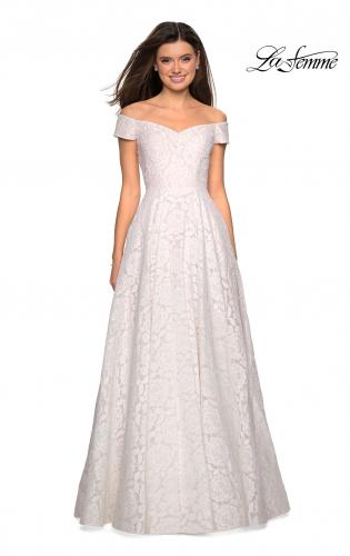 3b639c6c908 ... Picture of  Off the Shoulder Floor Length Dress with Rhinestones