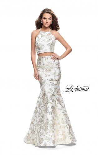 Picture of: Two Piece Mermaid Jacquard Prom Dress with Open Back, Style: 26202, Main Picture