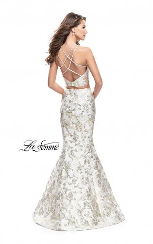 Picture of: Two Piece Mermaid Jacquard Prom Dress with Open Back, Style: 26202, Back Picture