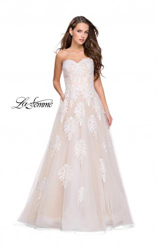 Picture of: Strapless Lace Gown with Tulle and Lace Applique, Style: 25560, Main Picture