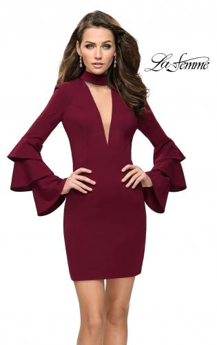Picture of: Short Homecoming Dress with Tiered Bell Sleeves, Style: 26639, Main Picture