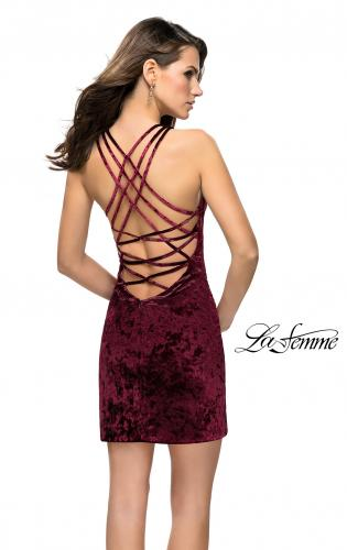 Picture of: High Neck Short Velvet Dress with Criss Cross Back Straps, Style: 26663, Main Picture