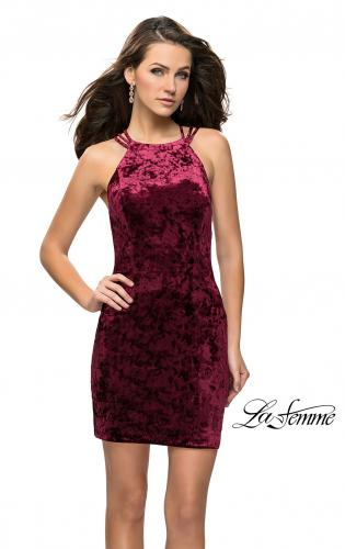Picture of: High Neck Short Velvet Dress with Criss Cross Back Straps, Style: 26663, Back Picture