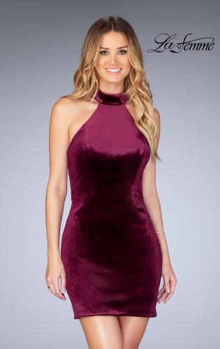 Picture of: High Neck Velvet Dress with Open Back, Style: 25032, Detail Picture 1