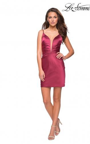 Picture of: Elegant Satin Homecoming Dress with Cut Out Back Detailing, Style: 26722, Detail Picture 1
