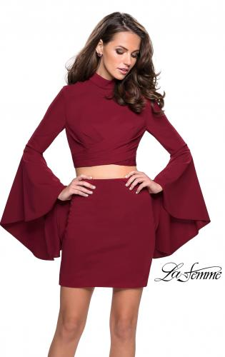 Picture of: Two Piece Bell Sleeve Jersey Dress with Open Back, Style: 26621, Detail Picture 2