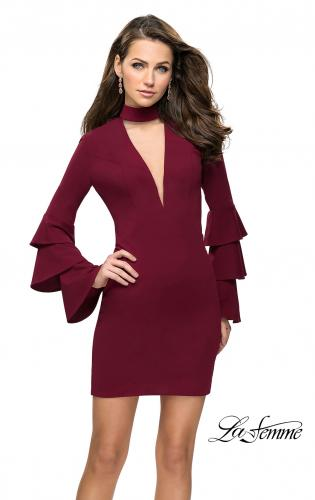 Picture of: Short Homecoming Dress with Tiered Bell Sleeves, Style: 26639, Detail Picture 2