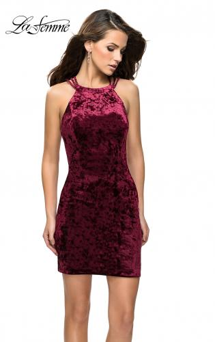 Picture of: High Neck Short Velvet Dress with Criss Cross Back Straps, Style: 26663, Detail Picture 2