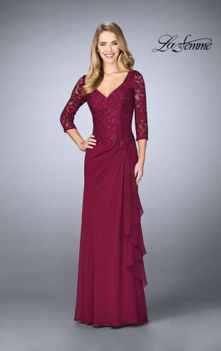 Picture of: Crepe Chiffon Gown with Lace Sweetheart Neckline, Style: 24857, Detail Picture 2