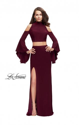 Picture of: Long Two Piece Dress with Cold Shoulders and Bell Sleeves, Style: 25353, Main Picture