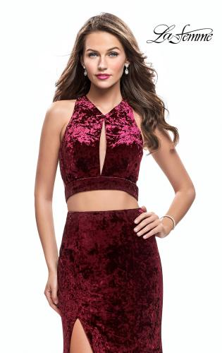 Picture of: Long Velvet Prom Dress with Crop Top and Leg Slit, Style: 25500, Main Picture
